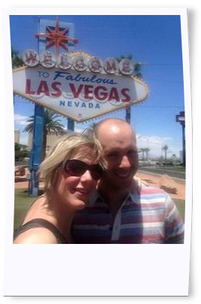 Paul is pictured with his wife under the Welsome to Las Vegas sign