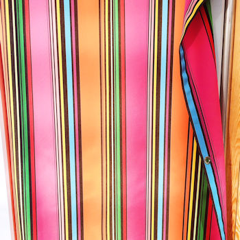 Stripey cubicle curtain pink organge and blue