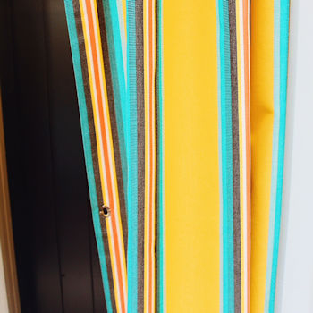 Yellow and green striped curtain