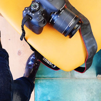 Canon Camera on yellow chair