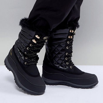 Black, fur trimmed, lace up snow boot