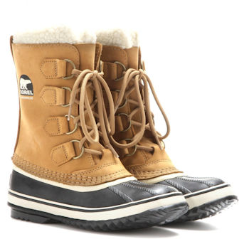 Classic Sorel winter snow boot design in brown