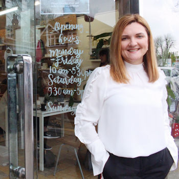 Tinker Tailor shop owner Antonia Sanchez-Toomey pictured outside her shop in Enfield, London