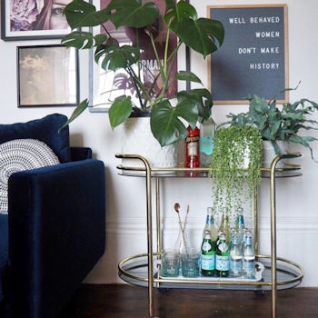 Drinks trolley in the home of interiors stylist Lisa Dawson