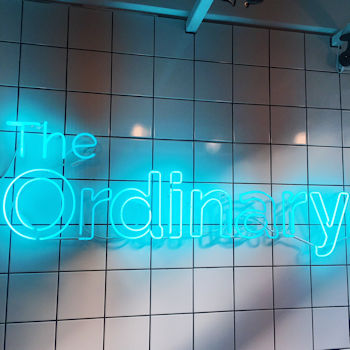 A neon sign in the Deciem store in Covent Garden