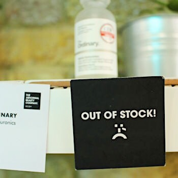 An out of stock sign at the Deciem store in Covent Garden