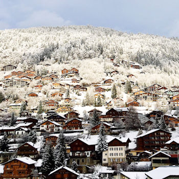 Snowy hillside in Morzine, France, Alpes