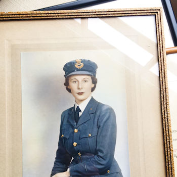 A portrait of Margot Neill OBE when she joined the Women's Air Force during WW2