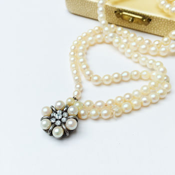 A 3 string pearl necklace, photographed by Helen Perry