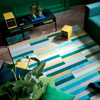 Kronge low pile rug, Ikea, green, yellow and blue