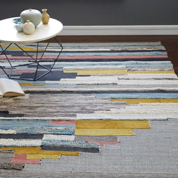 West Elm Multi Pixel Woven Rug, yellow, blue, interiors