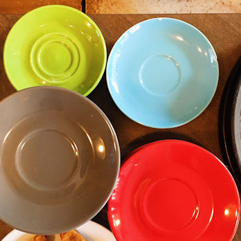 Colourful saucers at Pierreponts Cafe in Goring and Streatley