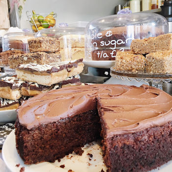 Chocolate cake at Pierreponts Cafe in Goring and Streatley