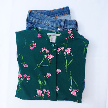H&M green and pink floral blouse with jeans