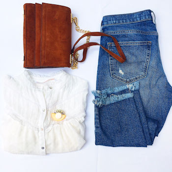White Plumetis Shirt by Zara, pictured with jeans and brown handbag