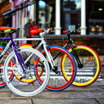 Colourful bikes, ideal for a family bike ride this summer