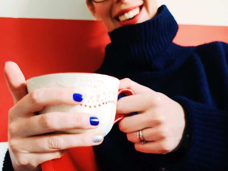 Tea in a festive cup by Helen Perry @notaboutthekids Not About The Kids