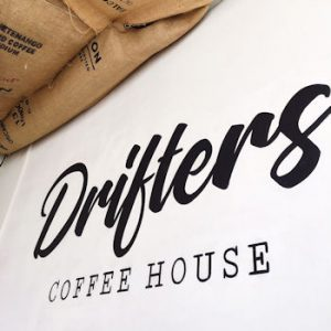 A sign for Drifters Coffee House in Henley on Thames
